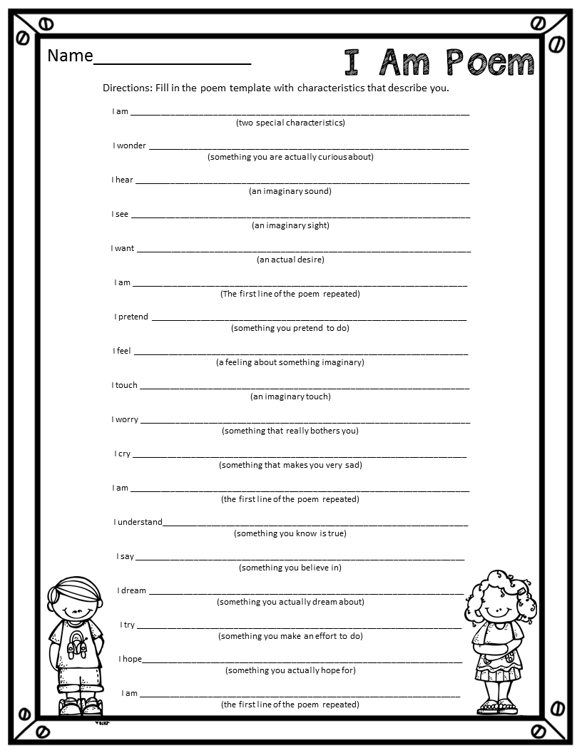 poetry templates for kids - i am poem template qcvxe0v0 thoughtsong7